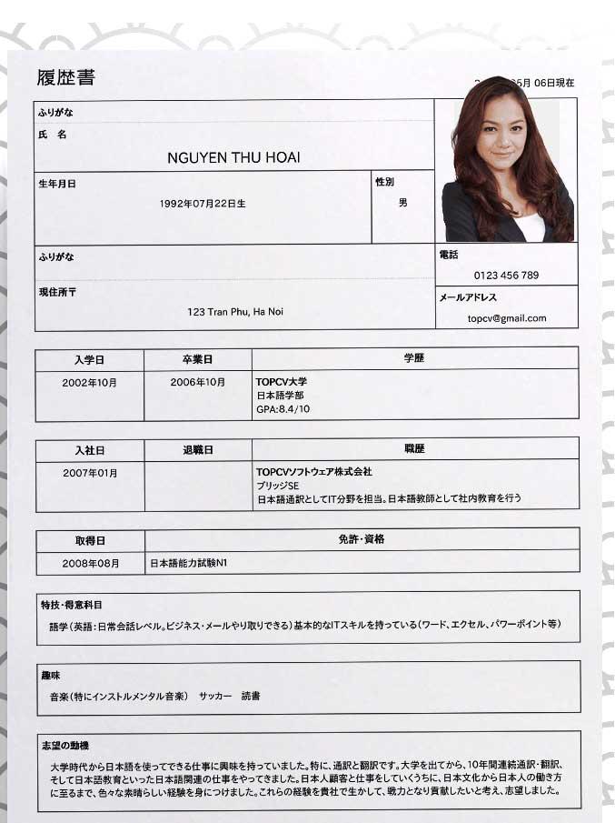 Mẫu CV tiếng Nhật