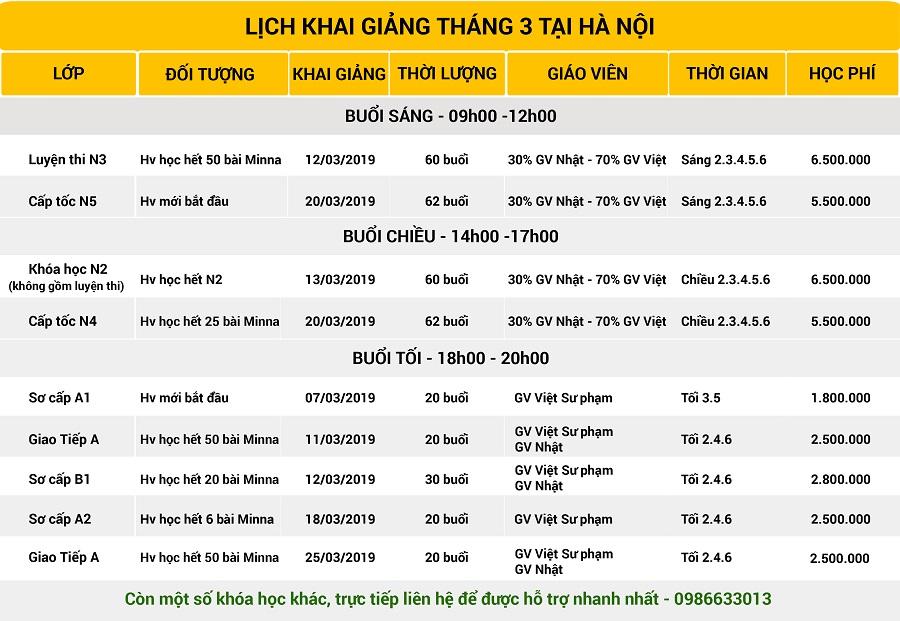 Lịch khai giảng Tháng 3 tại Hà Nội