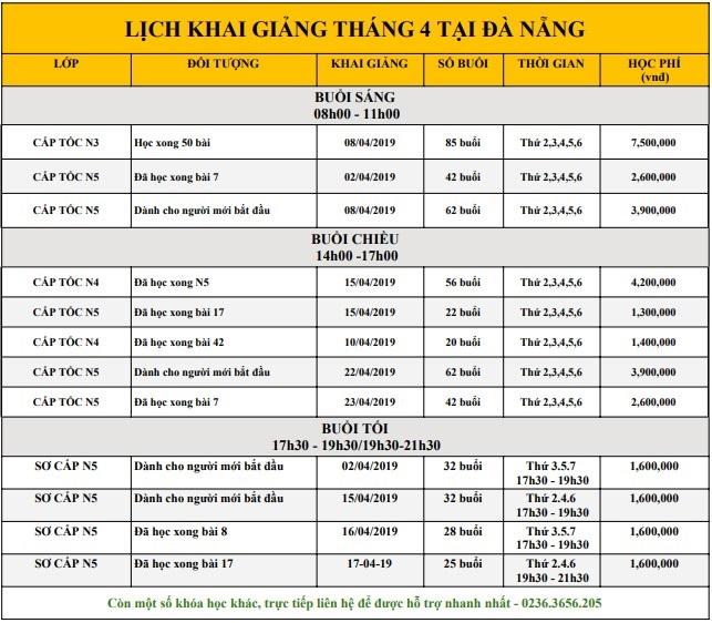 Lịch khai giảng Tháng 4 tại Đà Nẵng