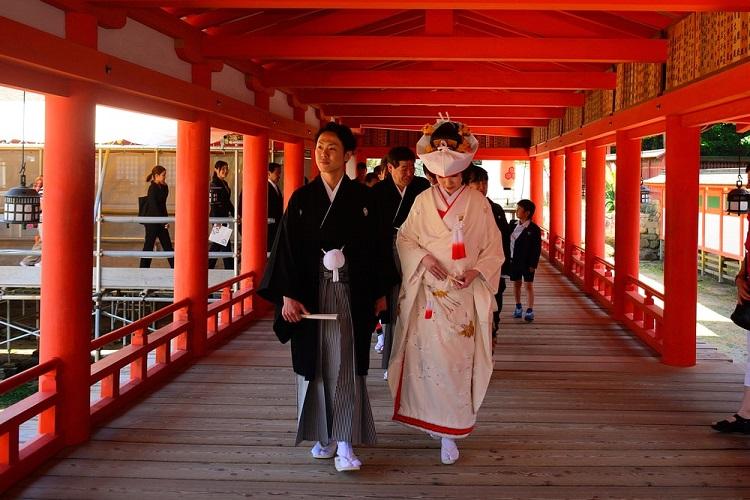 Chú rể sẽ mặc loại haori và hakama truyền thống của nam giới. Còn cô dâu thường mặc kimono màu trắng, tượng trưng cho sự trong trắng và thiêng liêng. Hoàng gia và quý tộc có trang phục riêng là Junihitoe và Sokutai (kimono 12 lớp)