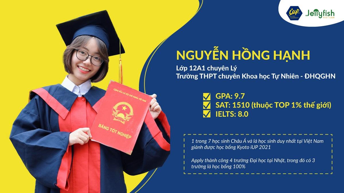 Nguyễn Hồng Hạnh – Học bổng 100% trường Đại học Kyoto năm 2021