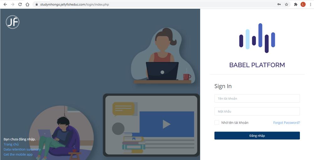 Nhập thông tin tên người dùng và mật khẩu hợp lệ của bạn do Jellyfish Education cung cấp
