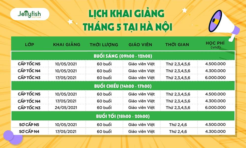 Lịch khai giảng Tháng 5/2021 - Hà Nội