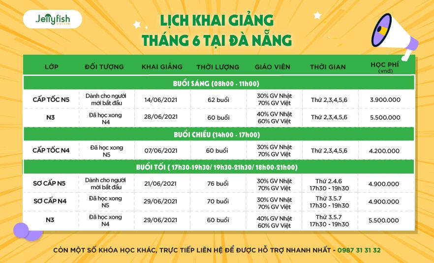 Lịch khai giảng Tháng 6/2021 - Đà Nẵng