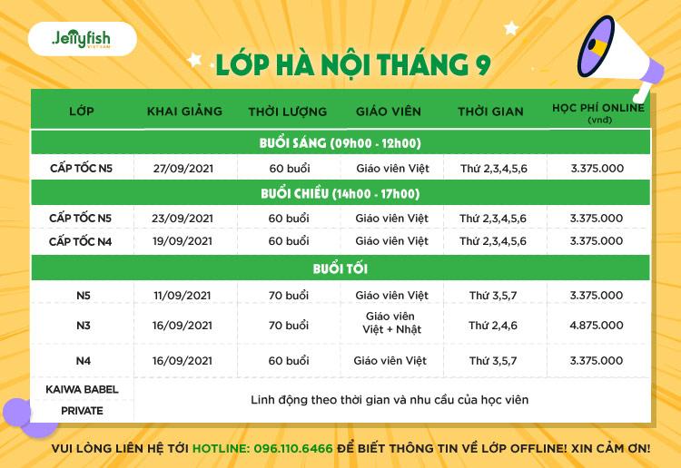 Lịch khai giảng Tháng 9/2021 - Hà Nội